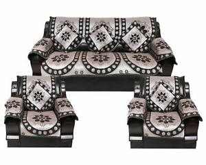 Sofa Cover Set of 5 Seater Slipcover Couch with 6 Arm 12 Pcs  Black silver