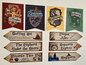Harry Potter Party Decoration Pack House Banners Signs *laminated Card*
