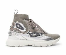 VALENTINO Sneakers Silver Embellished High Top Shoes Sock White Heroes Grey 8,5