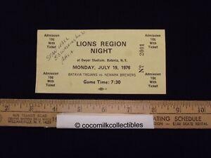 1976 Batavia Trojans Vs Newark Brewers Ticket Lions Region Night Dwyer Stadium