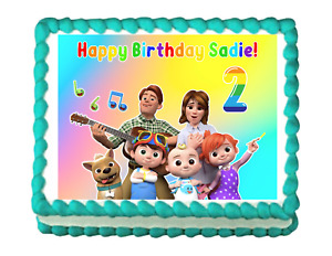 COCOMELON Edible image Birthday Cake topper decoration frosting sheet 1/4 SHEET