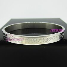 Great Lord of the Rings White Gold GP Solid Titanium Steel Oval Bangle Bracelet