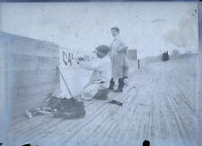 Photo Plaque de Verre - peintres sur piste en lattes de bois - Métiers anciens