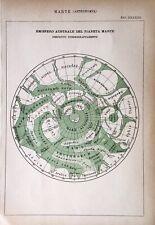 Stampa Antica Incisione - Marte - Astronomia - 1888