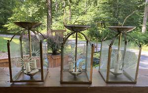 Vintage Entrance Hanging Semi Flush Light Lantern Pendant Chandelier Star Glass