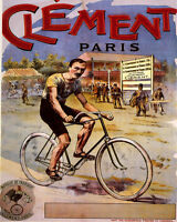 POSTER CLEMENT CYCLE PARIS BICYCLE FRENCH CYCLING RACE VINTAGE REPRO FREE S/H