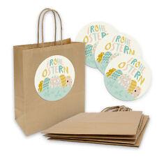 5x Geschenktüte Geschenktasche Kordel 18x8x22cm + Sticker Frohe Ostern pastell