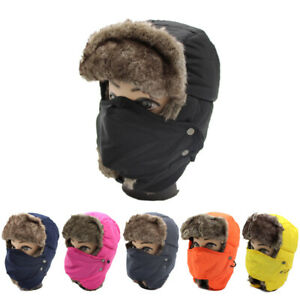 Men Women Winter Bomber Trapper Hats Face Neck Protect Fur Warm Aviator Ski Caps