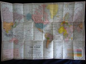 World Map~Antique~Countries~Dimensions ~Mercator ~A.L.Reed~ Routes: Cables/Ships