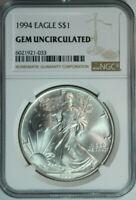 1994 American Silver Eagle Dollar $1 / .999 Pure / NGC GEM BU 🇺🇸