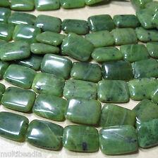 "Canadian Nephrite Green Jade 13x18mm Rectangle Beads 15.5"" Genuine Stone"