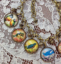 BLUE BIRDS Altered Art GLASS DOME CHARM BRACELET Vintage Greeting Card Art