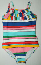 HANNA ANDERSSON girl's Colorful STRIPE RUFFLE Swim Bathing Suit* 110