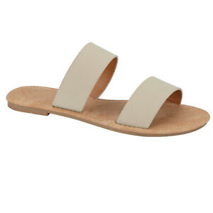 New Women's Double Strap Band Summer Flat Stud Open Toe On Slide Fashion Sandal