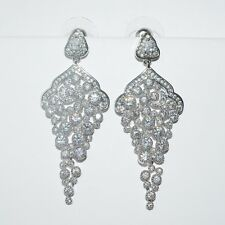 LOVELY 18K WHITE GOLD PLATED GENUINE CLEAR AAA CUBIC ZIRCONIA DANGLE EARRINGS