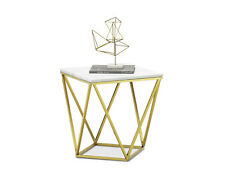 Deco Luxe Side End Table Square Brushed Gold White Marble Top Hollywood Regency