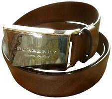 "$325 Burberry Brown Men's ""George"" Embossed Leather Logo Buckle Belt 80cm 32 NWT"