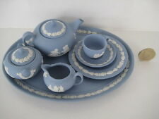 RARE WEDGWOOD BLUE JASPER CHINA MINIATURE TINY LIDDED TEA SET AND TRAY