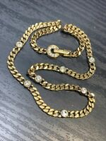 Vintage Gold Givenchy Signed Crystal Link Necklace Chain Fold over Box clasp 16""