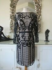 TEMPERLEY LONDON Black & Nude Caged Embroidered Illusion Dress 14 D40