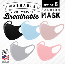 NEW 3D Unisex Face Mask Washable Reusable Breathable US Seller 5 Colors
