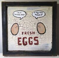 FRESH EGGS breast leg man kitchen chicken wood new folk pop lowbrow art painting