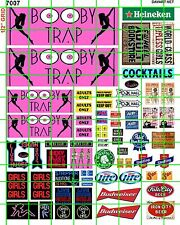 7007SET DAVE'S DECALS BOOBY TRAP STRIP CLUB BAR SET W/ ASST'D ADS & BILLBOARDS
