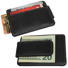 Mens Black Genuine Leather Magnetic MONEY CLIP WALLET Slim Credit Card ID Holder