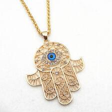 18K Gold Plated Hand of Fatima Hamsa Evil Eye Crystal Pendant Kabbalah Necklace