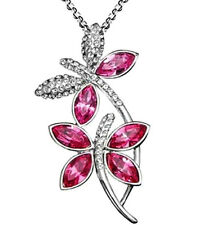Beautiful Silver Tone Dragonfly Necklace Pink Crystal Wings White Gold Plated