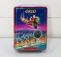 Oreo Cookie Tin Box Christmas Vintage 1995 Santa Claus Sleigh