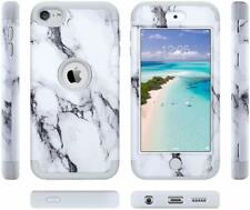 For iPod Touch 5th 6th 7th Gen - Hybrid Armor Heavy Duty Cover Gray White Marble