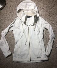 Marmot Women's Fleece Hoodie Zip up Sz Small White Piling Exterior