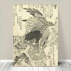 "Beautiful Vintage Japanese Bird Art ~ CANVAS PRINT 36x24"" Eagle Hunting"