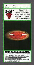 1995-96 Chicago Bulls Seattle Sonics 1/10/96 Michael Jordan 35 pts Ticket Stub