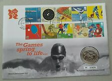 2010 Countdown To London Olympic Games £5 BU Coin in Stamp Cover