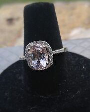 Morganite and Diamond Ring. 1.88Ct Pink Morganite set in 18K White Gold 2.38TCW