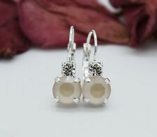 Silver Plated Ivory Cream Leverback Earrings with Swarovski Crystal Element