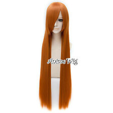 100CM Long Orange Straight Hair Lolita Lady Daily Cosplay Wig + Free Cap