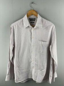 Fletcher Jones Mens White Striped Long Sleeve Pocket Button Up Shirt Size Medium