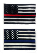 "12x18 12""x18"" USA Police Blue & Fire Red Thin Line Sleeve Flag Boat Car Garden"