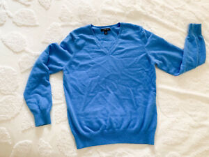 Lands End Baby Blue Cashmere Cardigan Sweater size M V Neck Cashmere Sweater