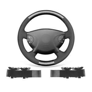 Black Suede Carbon Fiber Car Steering Wheel Cover Wrap For Benz E-Class W211