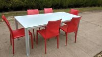 Italian Bontempi Casa White Glass Dining or Kitchen Table 6 Red Leather Chairs