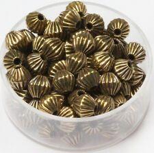 6 MM Vintage Brass Bi-Cone Corrugated Hollow Beads  Pkg. 50 p.  , USA