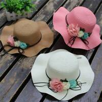 Summer Fashion Baby Flower Breathable Hat Straw Sun Beach Kids Cap Girls 2-6 Yrs