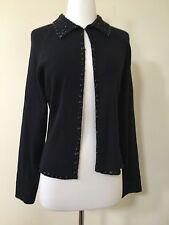 NY Based Black Cotton Cardigan Evening Beads Sleeves Size Medium