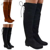 New Womens Thigh High Boots Ladies Flat Riding Biker Over Knee High Shoes 3-8