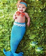 Newborn Baby Girl Crochet Knitted Photo Photography Prop Costume Mermaid Tail