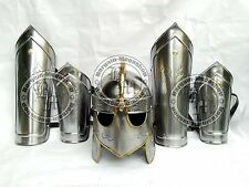 Medieval Iron Steel Helmet +Arm Guards +Leg Guards Set Vambraces Leg Armor